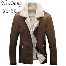 2018 4xl 5xl men winter leather jacket brown leather jacket big size faux fur lined coats winter faux from yanmai 113 95 dhgate com
