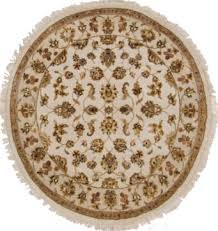 jaipur white round hand knotted 4 1 x 4 4 area rug