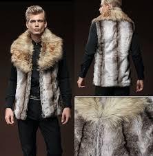 fashion men s faux rabbit fur coat jacket winter warm lapel gilet vest waistcoat