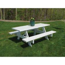 outdoor furniture white. White Vinyl Patio Picnic Table Outdoor Furniture N