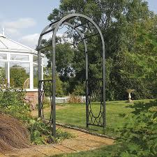 rowlinson wrenbury round top metal garden arch metal grey robert dyas