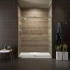 Shower Door kohler levity shower door installation photos : KOHLER Levity 59 in. x 74 in. Semi-Frameless Sliding Shower Door ...