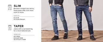 Levis 511 Size Chart Levis Mens 511 Slim Fit Jean
