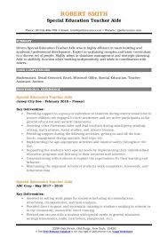 Special Education Teacher Aide Resume Samples Qwikresume