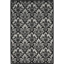nourison damask black white 8 ft x 10 ft area rug