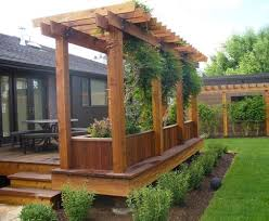 Innovation Outdoor Wood Patio Ideas Deck With Arbor And Garden Boxes Beautiful Design