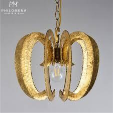 gold pendant light pumpkin shape droplight gold leaf hanging lamp