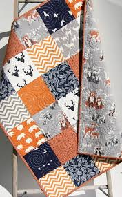 Best 25+ Baby quilts ideas on Pinterest | Baby quilt patterns ... & Baby Quilt, Boy, Orange Navy Blue Grey Gray, Elk Deer, Woodlands, Adamdwight.com