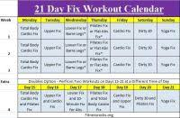 Excellence 21 Days Conditioning Program Chart