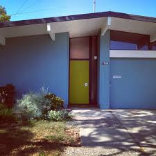 mid century modern front doors. Love The Blue Exterior Paint Color And Chartreuse Green Door. Mid-Century Modern Mid Century Front Doors C