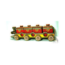 handmade papermache dry fruit box train of four