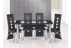 black bordered clear glass dining table and 6 chairs