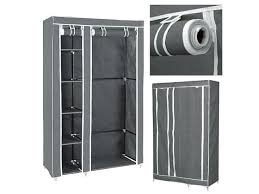 portable closet storage organizer wardrobe clothes rack shelves grey and with wood shelf