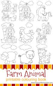 Cow, pig, horse, hen and chicks. Farm Animal Printable Colouring Pages Messy Little Monster