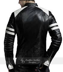 brad pitt s mayhem fight club black white biker style mens faux leather jacket back view