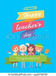 Congratulations Poster Happy Teachers Day Promo Vector Illustration