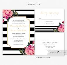 Pink Black White Wedding Invitation Rsvp Postcard