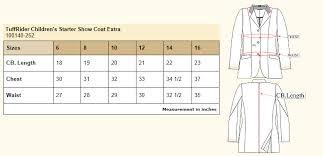 Kids Cloth Size Chart Tuffrider Childrens Starter Plus Size Show Coat