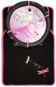 pink dragonfly car floor mats front rear plus steering wheel cover pack