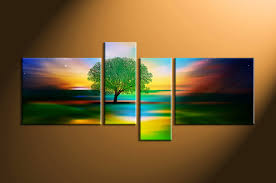 nature photo canvas home decor 4 piece artwork landscape canvas print tree on 4 piece wall artwork with 4 piece colorful stars landscape tree canvas wall art