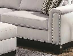 walker reversible sectional sofa revers side nail head details grey nailhead dark gray