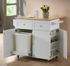 Kitchen Carts Kitchen Cart w/ Leaf, Trash Compartment, & Spice Rack