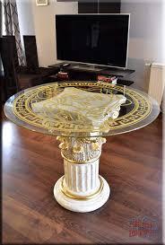 Griechischer Esstisch Wohnzimmertisch Tisch Glastisch Marmor Optik