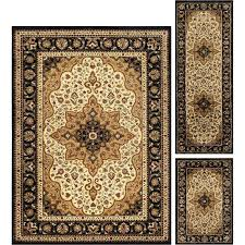 3 piece ivory brown area rug set rugs wayfair grand