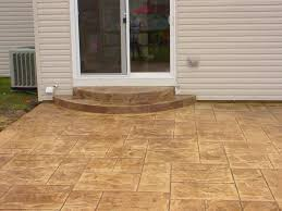 Stamped concrete patio with stairs Extravagant Stamped Concrete Patio Step Details Landscape Art Thill Concrete Projects Concrete Contractors Stamped Concrete