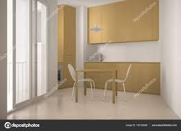Minimalistische Moderner Küche Mit Großem Fenster Und
