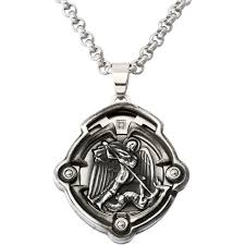black blue steel and diamond antiqued 3d tribal st michael pendant