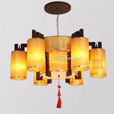 modern parchment and wood chandelier 7535