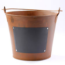 Rustic Metal Bucket With Chalkboard Label Decorative Accents Decorative  Metal Pails