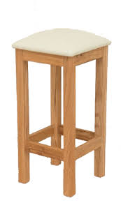 baltic solid oak kitchen stool with a cream leather seat pad