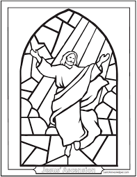 Ascension Coloring Page Jesus Ascending Stained Glass Window