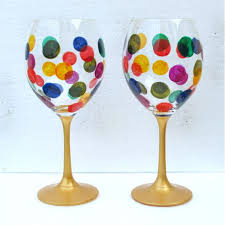 wine glass painting set of spotty dotty crystal wine gl hand painted crystal gift