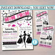 Editable Mom Prom Fundraiser Flyer Invite Ticket Set Pto Pta Church Community School Benefit Event Fashion Show Dinner Instant Download