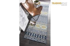amelia navy yellow grey coastal durable runner rug 400x80cm