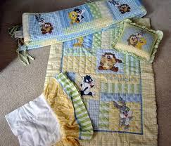 baby looney tunes 4 piece crib bedding set tweety bugs taz green