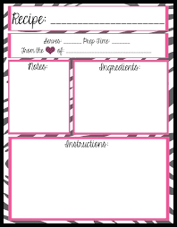 pages recipe card template printable recipes binder organizer book