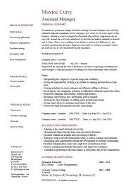 Assistant Manager Cv Example Resume Template Job Description