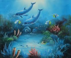 framed magical underwater sea world oil painting animal marine life dolphin fish naturalism 20 x 24 inches