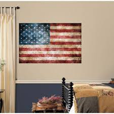 Peel And Stick Wall Decor Roommates 5 In X 115 In Vintage American Flag Peel And Stick