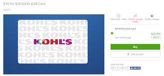 ymmv groupon 20 kohl s giftcard for 10