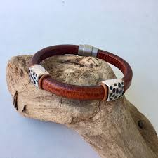 braveheart men s leather bracelet with hammered bars
