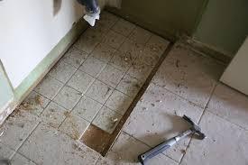 old tile under the vanity still present