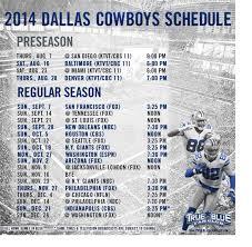2014 Nfl Schedule Dallas Cowboys Schedule Event
