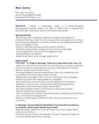 Management Objectives Resume The Letter Sample