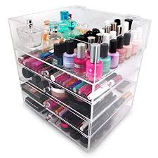 amazon sorbus 5 tier acrylic cosmetic and makeup storage case organizer home kitchen