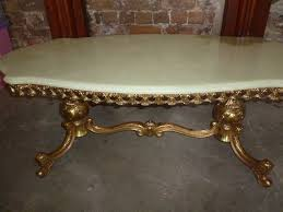 marble onyx french rococo style gilt metal base round coffee table